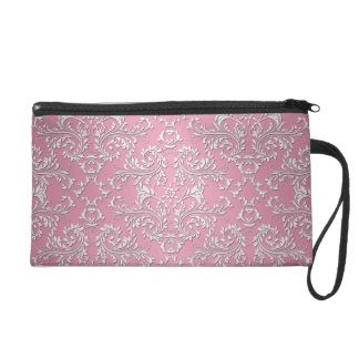 Girly Pink Victorian Damask Pattern Wristlet Purse