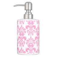Girly Pink Vintage Damask Pattern Kitchen or Bathroom Hand Soap Dispenser