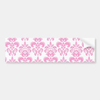Girly Pink Vintage Damask Pattern 2 Bumper Sticker