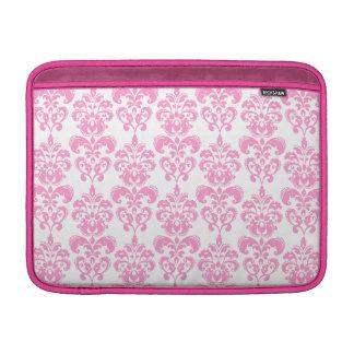 Girly Pink Vintage Damask Pattern 2 MacBook Sleeves