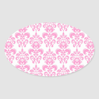Girly Pink Vintage Damask Pattern 2 Oval Sticker