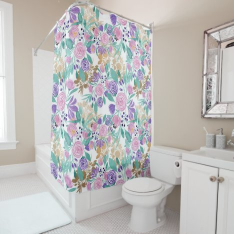 Girly Pink Violet Purple Gold Watercolor Flowers Shower Curtain