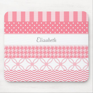 Girly Pink Washi Tape Geometric Pattern With Name Mouse Pad