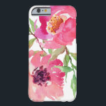 "Girly Pink Watercolor Floral Pattern Barely There iPhone 6 Case<br><div class=""desc"">Pretty and feminine,  this vibrant pink watercolor floral pattern features a pair of deep pink flowers with flowing branches that add a touch of green. It adds a trendy and fashionable look to your smart phone.</div>"