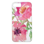 Girly Pink Watercolor Floral Pattern Iphone 7 Case at Zazzle