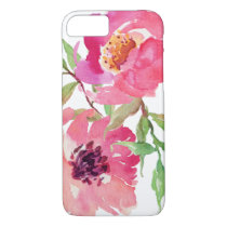 Girly Pink Watercolor Floral Pattern iPhone 7 Case