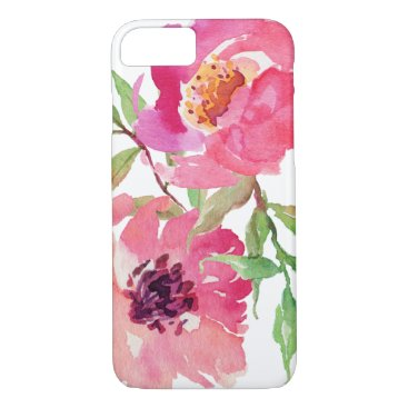 dancingpelican Girly Pink Watercolor Floral Pattern iPhone 7 Case