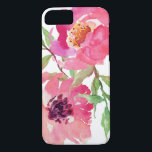 "Girly Pink Watercolor Floral Pattern iPhone 8/7 Case<br><div class=""desc"">Pretty and feminine,  this vibrant pink watercolor floral pattern features a pair of deep pink flowers with flowing branches that add a touch of green. It adds a trendy and fashionable look to your smart phone.</div>"