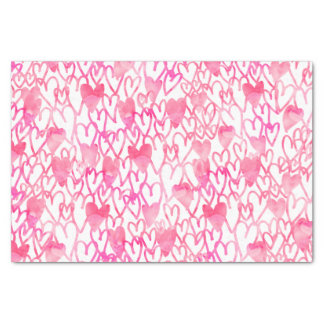 "Girly pink watercolor hand drawn hearts pattern 10"" x 15"" tissue paper"