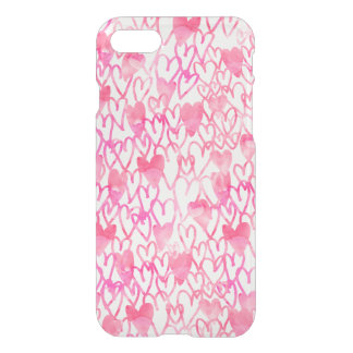 Girly pink watercolor hand drawn hearts pattern iPhone 8/7 case