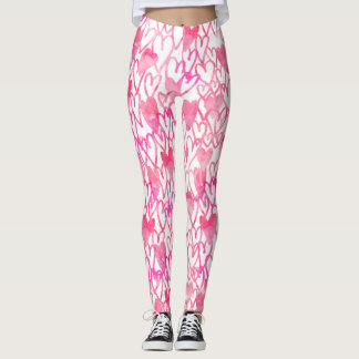 Girly pink watercolor hand drawn hearts pattern leggings