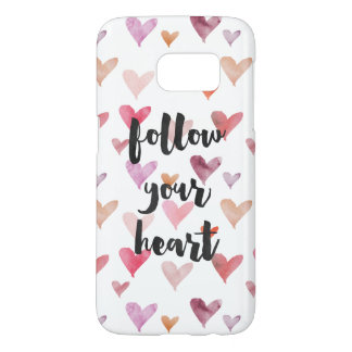 Girly Pink Watercolor Hearts Follow Your Heart Samsung Galaxy S7 Case