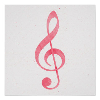 Girly Pink Watercolor Paint Music Note Treble Clef Poster