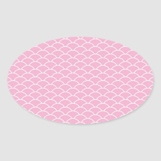 Girly Pink Wave Pattern Pt5 Oval Sticker