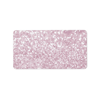 Girly Pink White Abstract Glitter Photo Print Personalized Address Labels