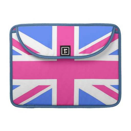 Girly Pink, White and Blue Union Jack Flag MacBook Pro Sleeves