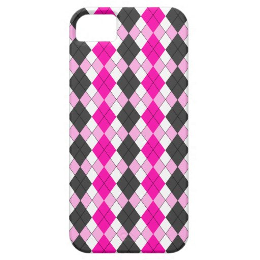 Girly Pink, White and Grey Argyle Plaid Pattern iPhone 5 Covers