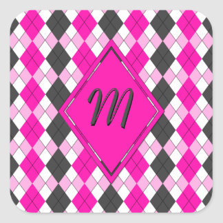 Girly Pink, White and Grey Argyle Plaid Pattern Square Sticker