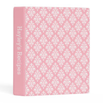 Girly Pink White Damask Pattern Custom Recipe Mini Binder