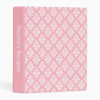 Girly Pink White Damask Pattern Custom Recipe Mini Binder