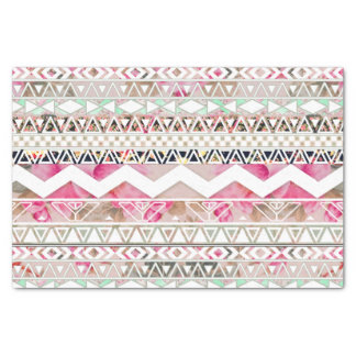 "Girly Pink White Floral Abstract Aztec Pattern 10"" X 15"" Tissue Paper"