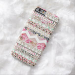 Girly Pink White Floral Abstract Aztec Pattern Barely There iPhone 6 Case