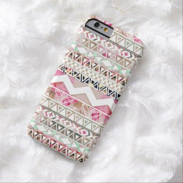 Aztec Themed Girly Pink White Floral Abstract Aztec Pattern Barely There iPhone 6 Case