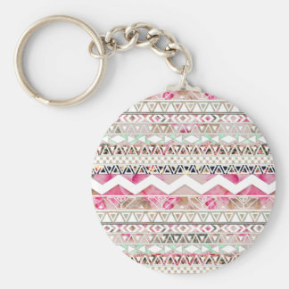 Girly Pink White Floral Abstract Aztec Pattern Basic Round Button Keychain