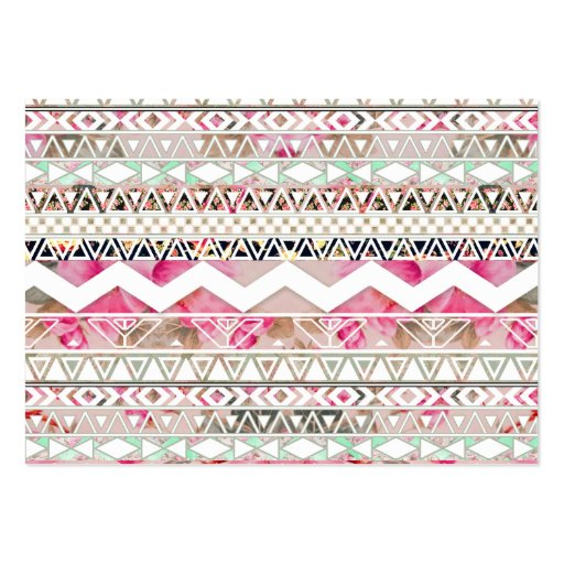 Girly Pink White Floral Abstract Aztec Pattern Business Cards