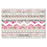 """Girly Pink White Floral Abstract Aztec Pattern 10"""" X 15"""" Tissue Paper"""