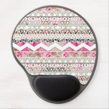 Aztec Themed Girly Pink White Floral Abstract Aztec Pattern Gel Mouse Pad