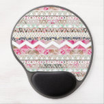 Girly Pink White Floral Abstract Aztec Pattern Gel Mouse Pad