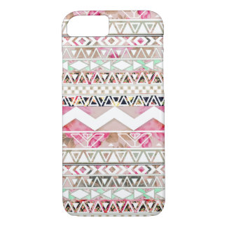 Girly Pink White Floral Abstract Aztec Pattern iPhone 7 Case