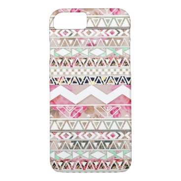 Aztec Themed Girly Pink White Floral Abstract Aztec Pattern iPhone 7 Case