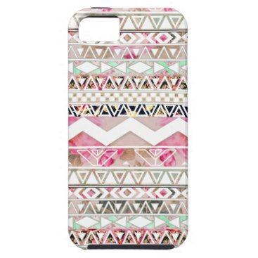 Aztec Themed Girly Pink White Floral Abstract Aztec Pattern iPhone SE/5/5s Case