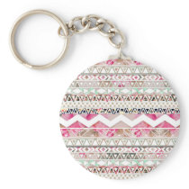 Girly Pink White Floral Abstract Aztec Pattern Keychain