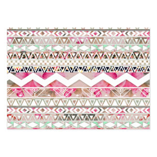 Girly Pink White Floral Abstract Aztec Pattern Large Business Card