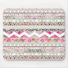 Girly Pink White Floral Abstract Aztec Pattern Mouse Pad at Zazzle