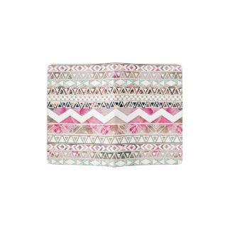 Girly Pink White Floral Abstract Aztec Pattern Passport Holder
