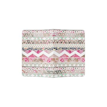 Aztec Themed Girly Pink White Floral Abstract Aztec Pattern Passport Holder