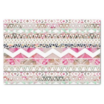 Aztec Themed Girly Pink White Floral Abstract Aztec Pattern Tissue Paper