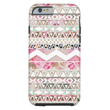 Aztec Themed Girly Pink White Floral Abstract Aztec Pattern Tough iPhone 6 Case