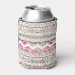 Girly Pink White Floral Abstract Aztec Pattern Can Cooler