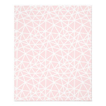 Girly Pink White Geometric Stripes Pattern Flyer