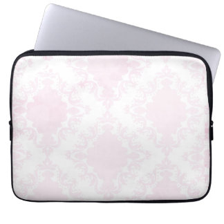 Girly Pink White Lace Vintage Damask Pattern Computer Sleeve