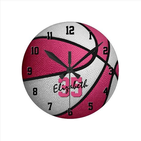 girly pink white personalized basketball round clock