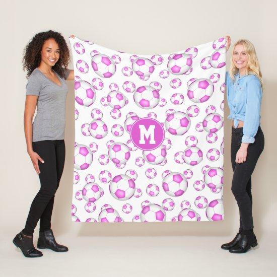 girly pink white soccer balls pattern monogrammed fleece blanket