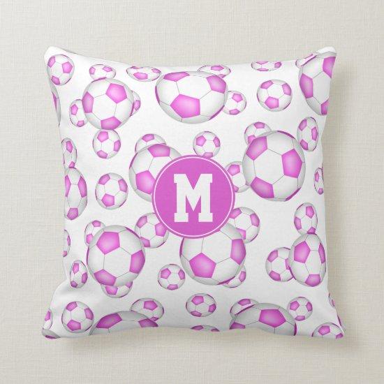 girly pink white soccer balls pattern monogrammed throw pillow