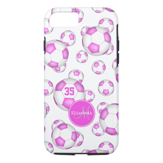 girly pink white soccer balls pattern personalized iPhone 8/7 case