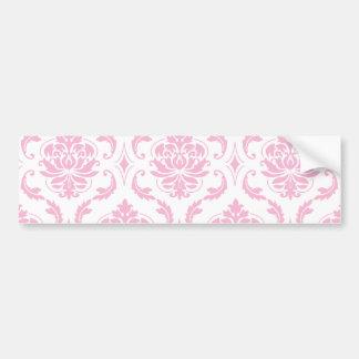 Girly Pink White Vintage Damask Pattern Bumper Stickers